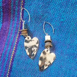 Metal Hammered Abstract Heart Beaded Earrings NWT